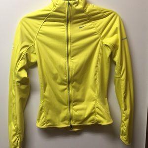 •NIKE dri fit neon yellow sport coat// XS